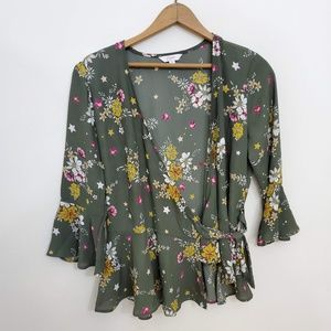 Candies Floral Green Floral Tie Up Blouse